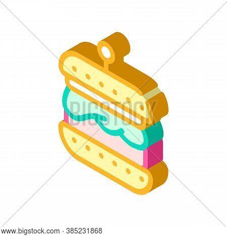 Hamburger With Vegan Cutlet Isometric Icon Vector Illustration