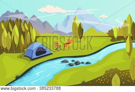 Summer Camping And Nature Tourism Concept. Camping In Nature By The River With Barbecue. Landscape W