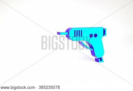 Turquoise Electric Hot Glue Gun Icon Isolated On White Background. Hot Pistol Glue. Hot Repair Work