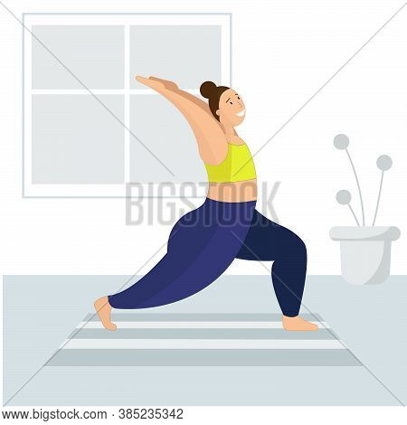 An Illustration Of A Plus Size Woman Doing Yoga At Home. Home Workout. Body Positivity Concept.