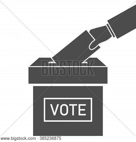 Ballot Box And Hand With Vote. Icon Of Election. Voter With Envelope On Referendum. Logo Of Democrac
