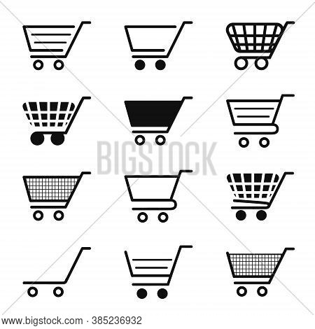 Cart Icon For Shop. Trolley For Shopping. Add In Basket For Buy. Symbol Of Online Store, Retail And