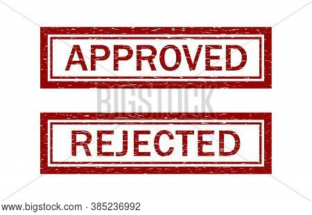 Stamp Rubber Of Approved And Reject. Grunge Seal After Review. Icon Of Approve Or Denied. Red Rectan