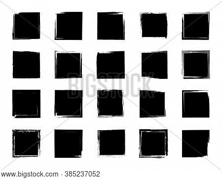 Grunge Square. Grunge Rectangle With Border Or Frame. Brush Of Ink. Black Texture With Rough Edges.