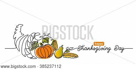 Thanksgiving Day Line Art Background With Horn Of Plenty, Cornucopia And Vegetables. Simple Vector W