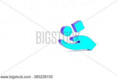 Turquoise Cube Levitating Above Hand Icon Isolated On White Background. Levitation Symbol. Minimalis