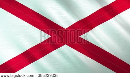 The Waving Flag Of Alabama. High Quality 3d Illustration. Perfect For News, Reportage, Events.