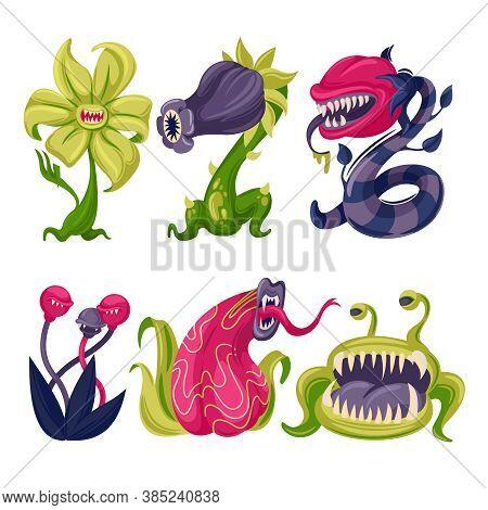 Cartoon Color Carnivore Plants Icons Set Flat Design Style. Vector Illustration Of Carnivorous Monst