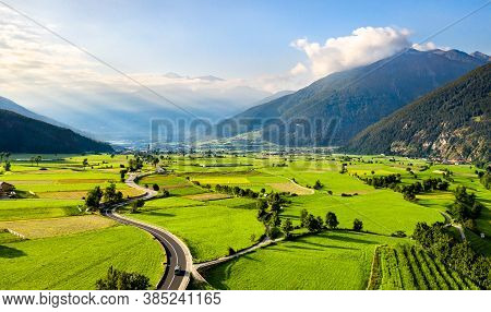 Aerial View Of The Vinschgau Valley At Mals In South Tyrol, Italy
