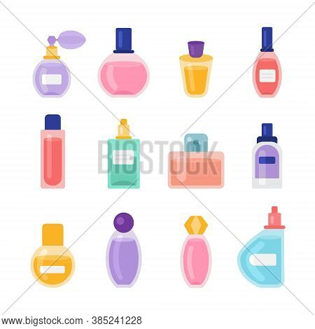 Cartoon Color Perfume Bottles Icons Set Flat Design Style. Vector Illustration Of Icon Perfumery Bot