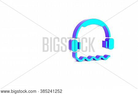 Turquoise Headphones Icon Isolated On White Background. Support Customer Service, Hotline, Call Cent