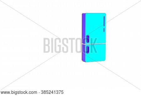 Turquoise Refrigerator Icon Isolated On White Background. Fridge Freezer Refrigerator. Household Tec