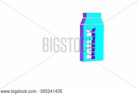Turquoise Paper Package For Milk Icon Isolated On White Background. Milk Packet Sign. Minimalism Con