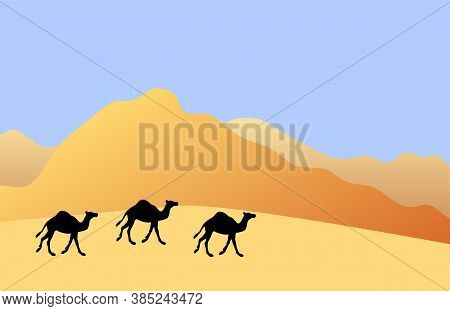Vector Camel Silhouette Isolated On Colored Flat Cartoon Desert Sand Landscape