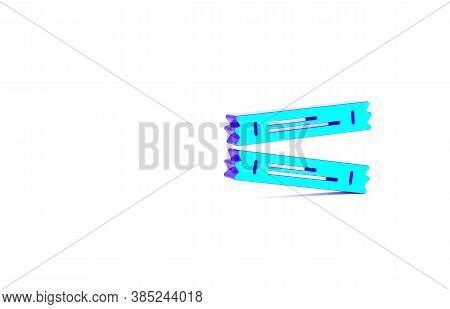 Turquoise Sugar Stick Packets Icon Isolated On White Background. Blank Individual Package For Bulk F
