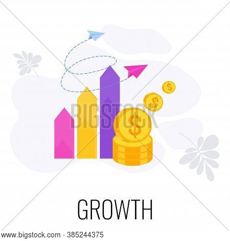 Growth Infographics Icon. Growing Trend. Graph And Diagram Of Growth, Increase In Income. Growth And