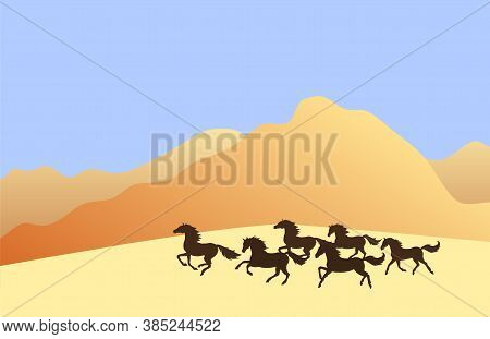 Vector Running Horses Herd Silhouette In Colored Flat Landscape With Sand And Mountains