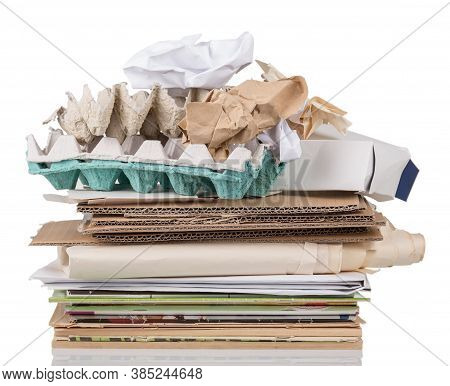 Recycling Concept. Recyclable Cardboard And Paper Isolated On White Background