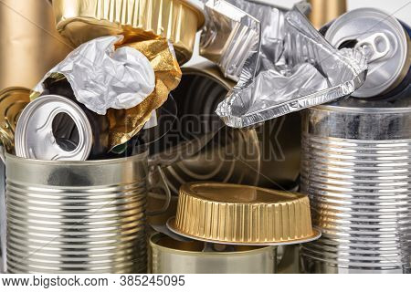Recyclable Metal Close-up. Tin Cans, Foil And Beer Cans