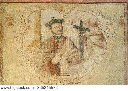 DONJA STUBICA, CROATIA - APRIL 13, 2015: Saint Francis Xavier, fresco at Holy Trinity Parish Church in Donja Stubica, Croatia