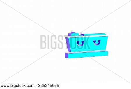 Turquoise Open Coffin With Dead Deceased Body Icon Isolated On White Background. Funeral After Death