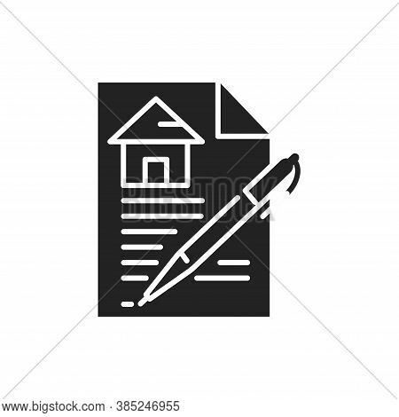 Contract Black Glyph Icon. A Legally Binding Agreement. Between Parties For The Purchase And Sale. P