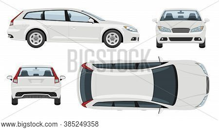 White Station Wagon Car Vector Template With Simple Colors Without Gradients And Effects. View From