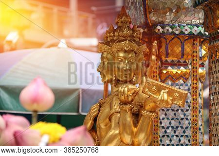 Golden Hindu God Brahma Statue Be Enshrined On Altar. Beautiful Indian Religion Traditional Lord Scu