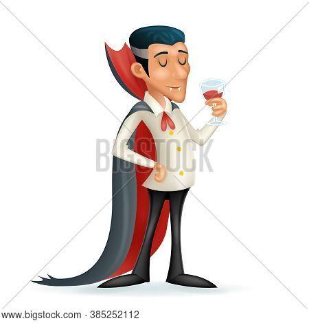 3d Vampire Gentleman Costume Halloween Party Savor Drink Glass Blood Icon Retro Vintage Cartoon Desi