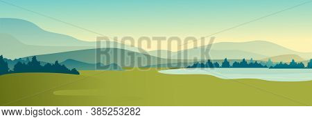 Vector Illustration Landscape Of Countryside, Meadow Farmland, Horizontal View, Summer Day