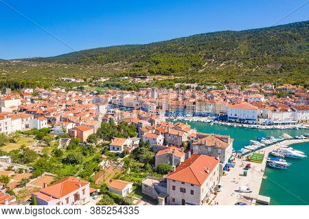 Panoramic View Of Beautiful Blue Bay Town Of Cres On The Island Of Cres, Adriatic Sea In Croatia