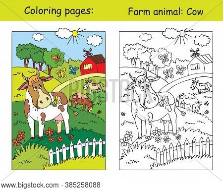 Coloring Pages With Cute Cow Gracing On The Farm Meadow. Cartoon Vector Illustration. Coloring And C