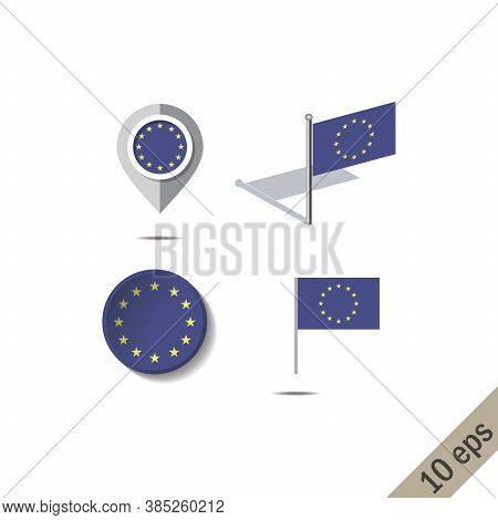 Map Pins With Flag Of European Union - Vector Illustration