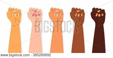 Fists Of People Of Different Nations And Races Vector. It Is A Symbol Of Struggle Against Injustice,