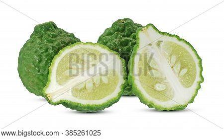 Fresh Bergamot Fruits Isolated On White Background
