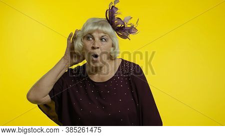 Portrait Of Senior Old Woman Overhearing Private Conversation, Trying To Find Out Personal Secrets,