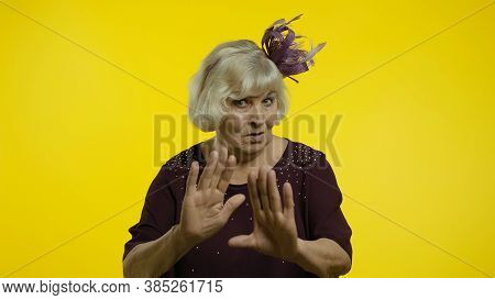 Dont Do It. Senior Old Woman Warning Of Mistake, Showing Admonishing Finger Gesture, Disapproval Sig