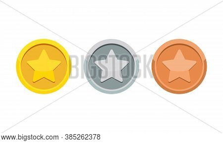 Coin Game Medal With The Star Icon. Gold, Silver And Bronze Medal. 1st, 2nd And 3rd Places Award. Ve
