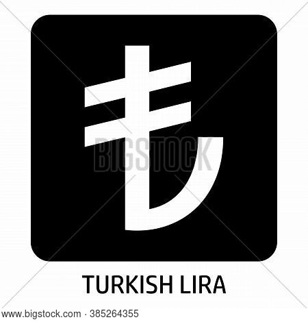 Turkish Lira Currency Icon In A Dark Box
