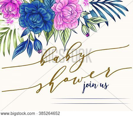 Bright, Cheerful Invitation To Baby Shower Party. Template Invitation To A Children's Party