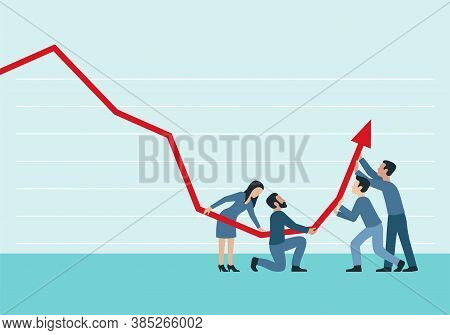 People Group (working Team) Holding Decreasing Chart Graph With Arrow Up - Vector Concept For Illust