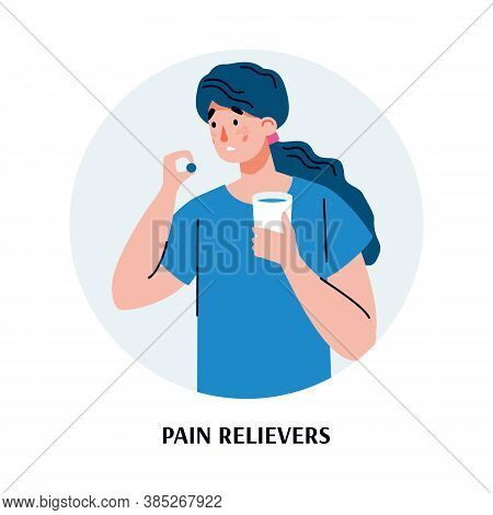 A Sick Woman Holds A Glass Of Water And Takes Pain Relievers Pills. Concept Of Medical And Pharmacy