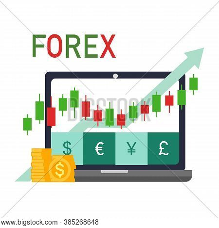 Forex Trading Signal, Forex Investment Concept In Flat Design. Buy And Sell Indicator For Forex Trad