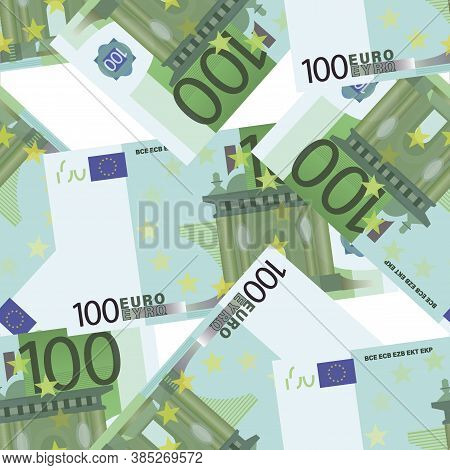 100 Euro. Cash Background. Money Pattern. Falling Money Isolated On White Background. Euro Bill.