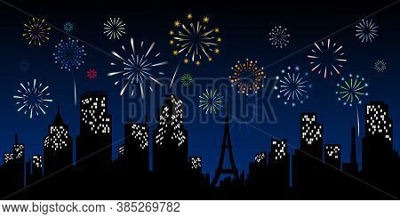 New Years Design Illustration For Background. New Year Backgrounds. New Year With Fireworks In Backg