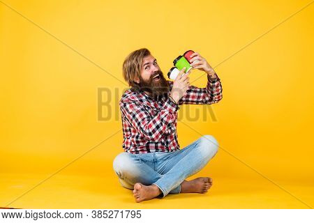 Making Mix. Hipster Man Drink Coffee. Handsome Bearded Man Holding A White Cup. Mug With Beverage. D