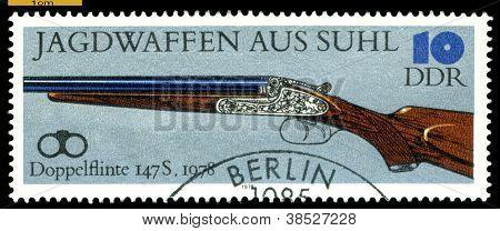 Vintage  Postage Stamp. Double-barreled Gun. 1978.