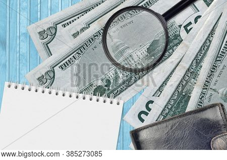 50 Us Dollars Bills And Magnifying Glass With Black Purse And Notepad. Concept Of Counterfeit Money.