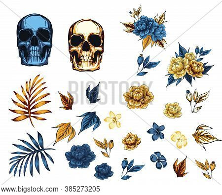 Set Metal Skull With Flowers Golden Rose Wreath, Dia Muertos Day Dead Vector Illustration On For Pos