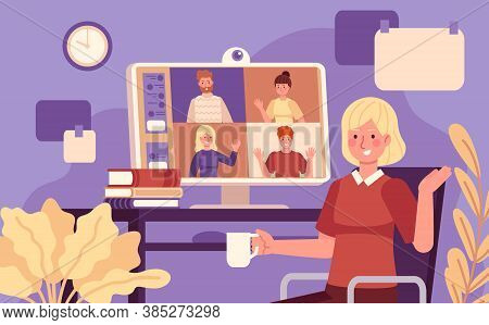 Online Meeting. Video Conference Woman Online Meeting With Colleagues, Remote Work Using Computer, C